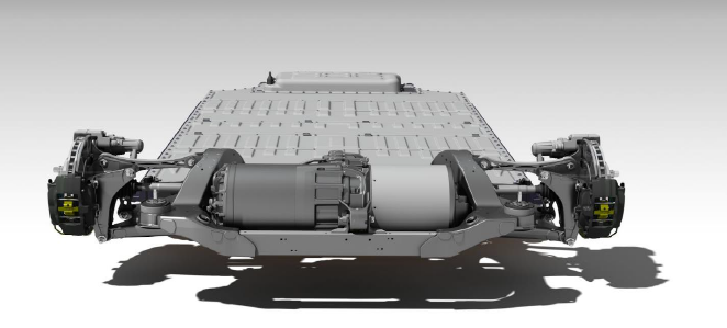 Figure 3. The Tesla Model S rear wheel drive vehicle with a drivetrain that is transversely mounted.