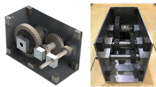 Figure 60. Side by side comparison of design concept (left) and the final prototype (right).