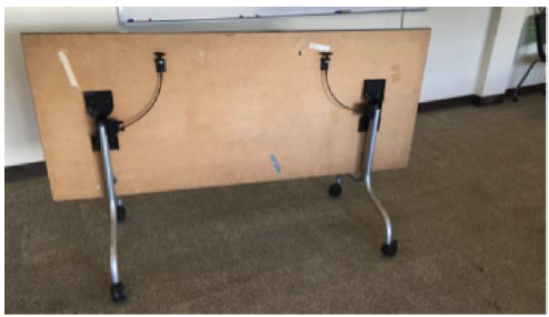 Figure 2.3: Table located in the Bonderson Project Center room 104, a collaborative space often used for group work and club meetings.