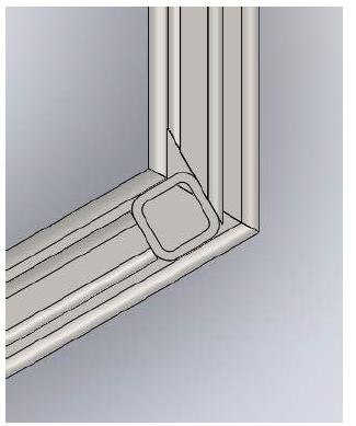 Figure 8.3: Side supports are perpendicular to the front legs as well while front support is now the only piece cut at a severe angle.