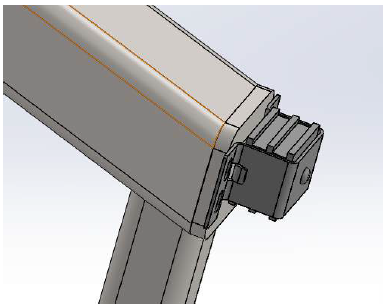 Figure 5.25: Solidworks model of the magnetic latch attachment to the end cap.