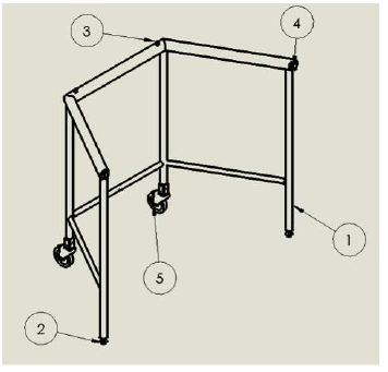 Figure 5.9: Isometric view of the frame with components labeled as follows: 1-Welded Frame Assembly, 2-Leveling End Cap Assembly, 3 - Locating Pins, 4 - Latch Assembly, 5 - Caster Assembly.