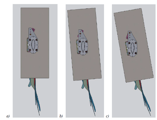 Figure 19. Overview of the final model at a) 0º, b) 5º and c) 10º angle of attack. Air flow is from top to bottom.