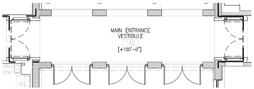 Figure 17 Main Entrance Vestibule – Door Swing