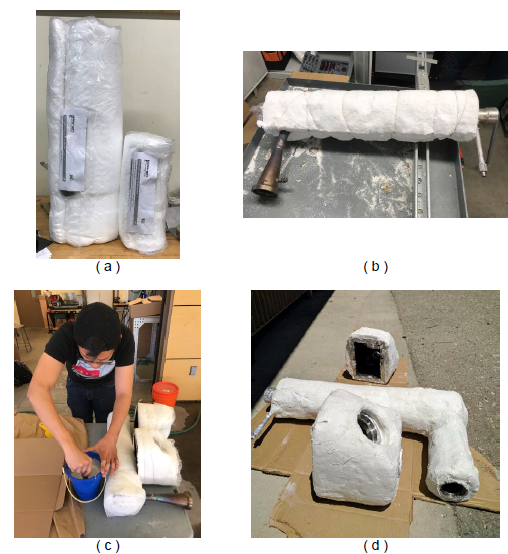 Figure 26. Application process of (a) ceramic wool insulation, (b) insulation tied up with tie wire, (c) insulation covered with adhesive mesh drywall joint tape, and (d) insulation covered in plaster.